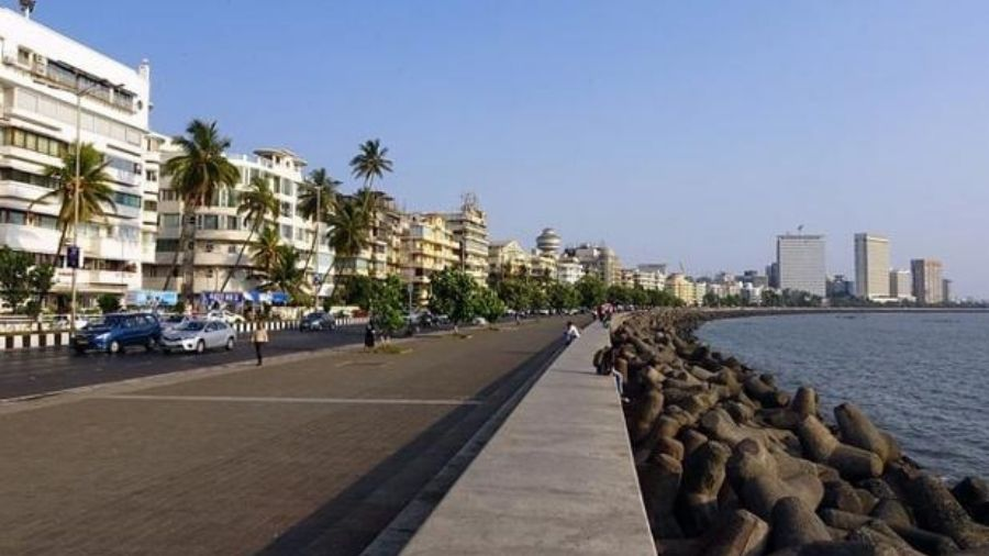 A deserted Marine Drive on Monday.