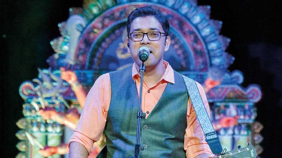 Anupam Roy performs at the Durga Puja celebrations at Tampa, Florida, USA