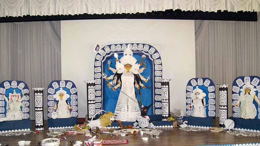 The three-dimensional Durga murti made by Sampa Guha Majumdar in Okpo (near Busan), South Korea