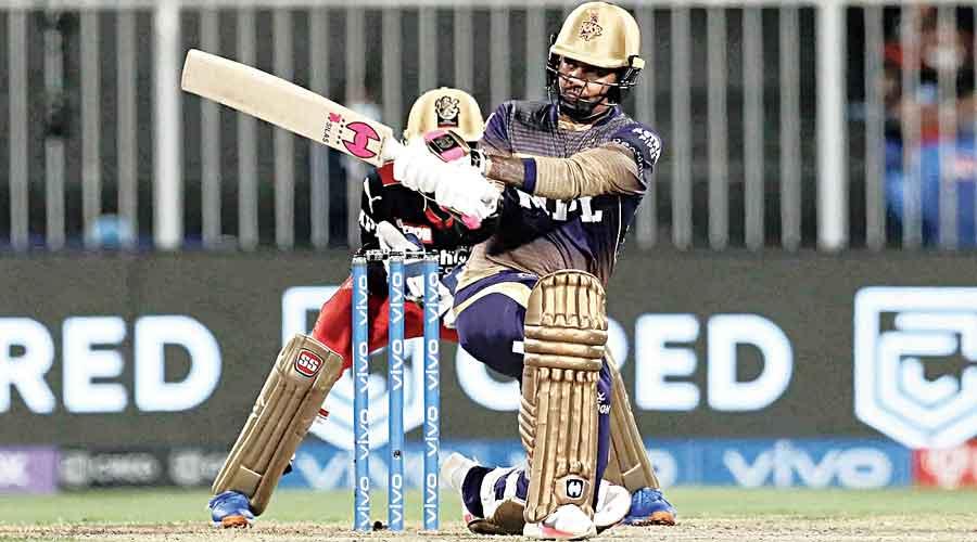 Kolkata Knight Riders' Sunil Narine sweeping one during his knock of 26 off 15 balls.