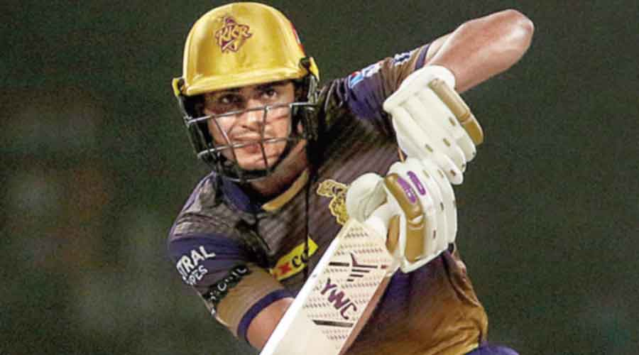 KKR's Shubman Gill in action against Royal Challengers Bangalore at Sharjah on Monday.