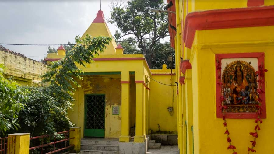 Yellow and red impart a distinct vibrancy to the premises of the temple