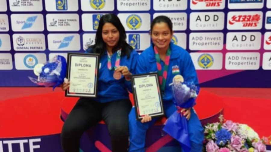 Last month, Prapti (right) bagged a silver medal at the 2021 Kazakhstan International Open with her doubles partner, Kaushani Nath