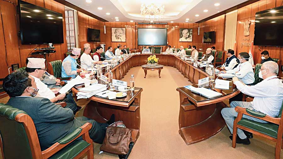 The meeting in progress in New Delhi on Tuesday.