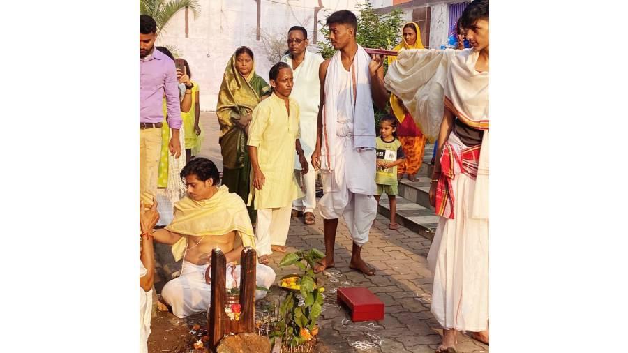 Maha Saptami Puja in Progress at old fort at Jharia on Tuesday