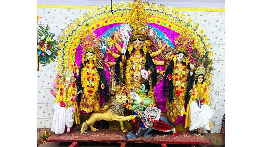 The idol of Goddess Durga at Jharia Rajbari, on Tuesday.