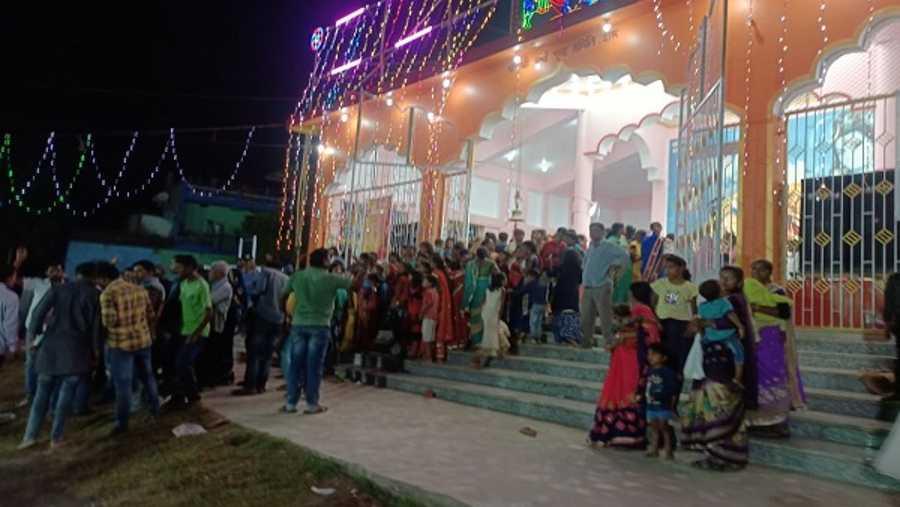 Devotees taking shelter in Durga Mandap in Hazaribagh on Tuesday night.