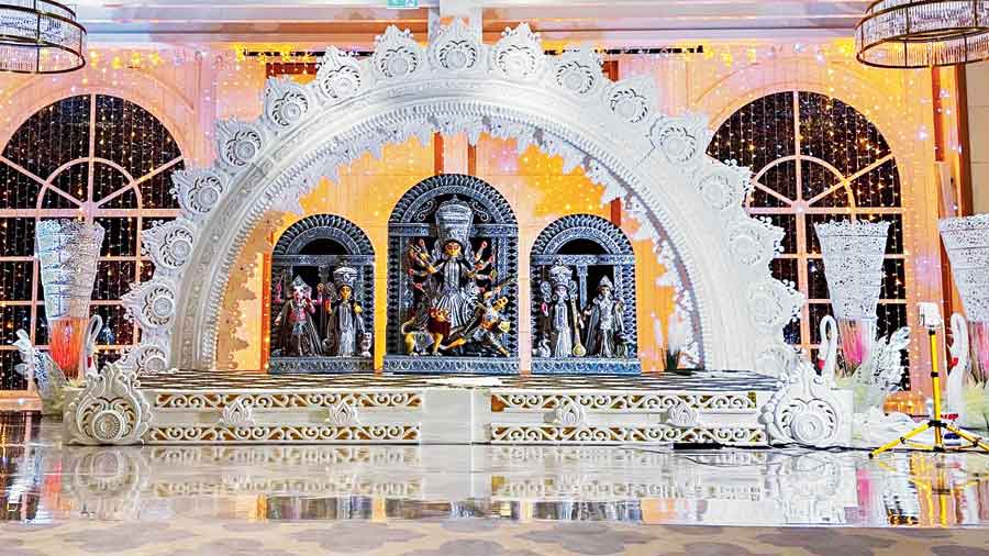The Durga idol at the Dubai hotel ballroom