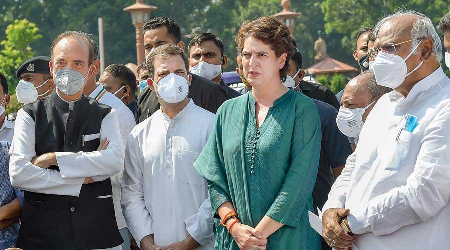 (From left) Ghulam Nabi Azad, Rahul Gandhi, Priyanka Gandhi Vadra, and Mallikarjun Kharge address the media in New Delhi on Wednesday after a meeting with President Ram Nath Kovind on the Lakhimpur Kheri incident.