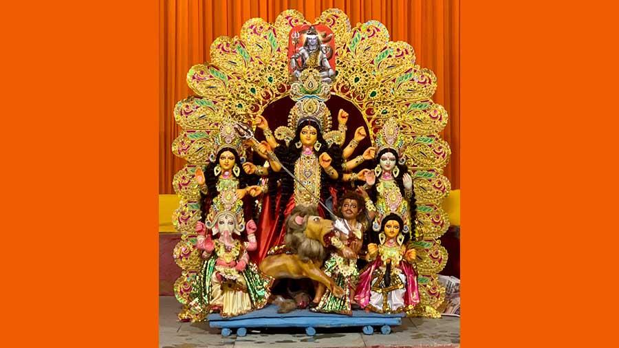 The Durga idol at the D Block pandal