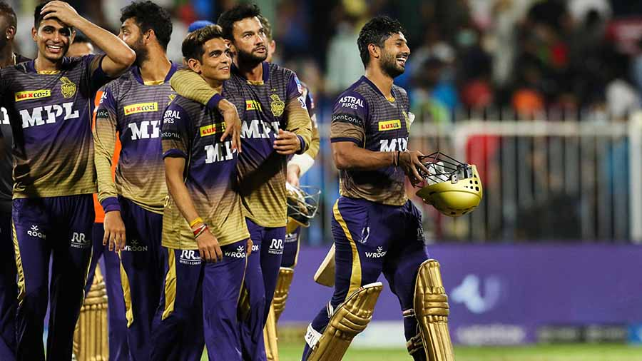 KKR players after winning the second Qualifier against Delhi Capitals on Wednesday night