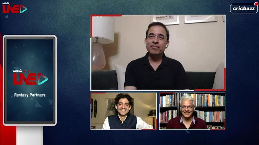 (Clockwise from top) Harsha Bhogle, Joy Bhattacharjya and Gaurav Kapoor in a Cricbuzz video