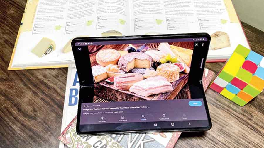 You can fold the phone partially — called Flex mode — to make video viewing enjoyable
