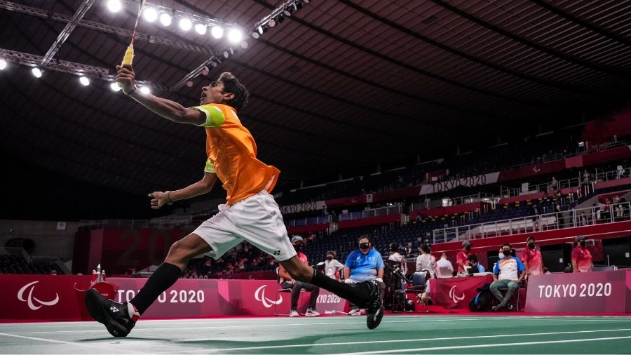 Pramod Bhagat in action on Saturday.
