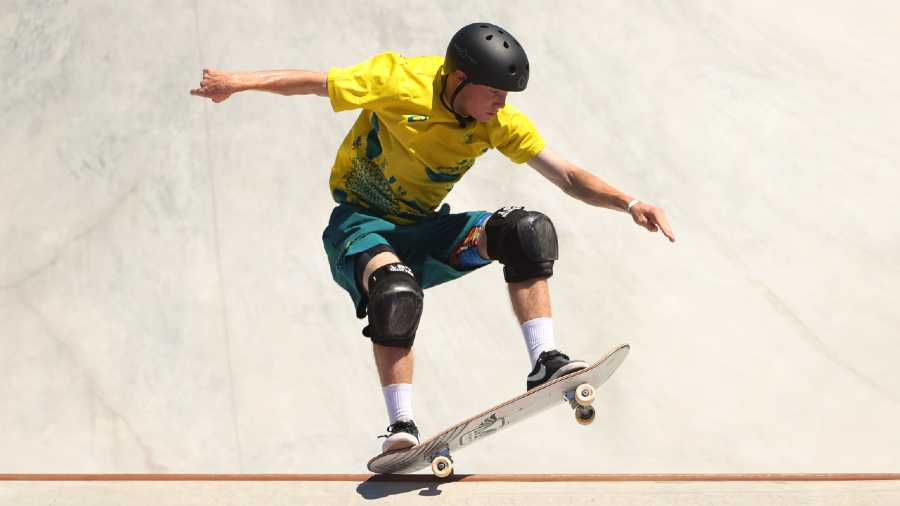Kieran Woolley of Australia in action at the Tokyo Olympics