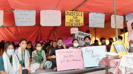The fasting ad hoc teachers in Gangtok on Monday