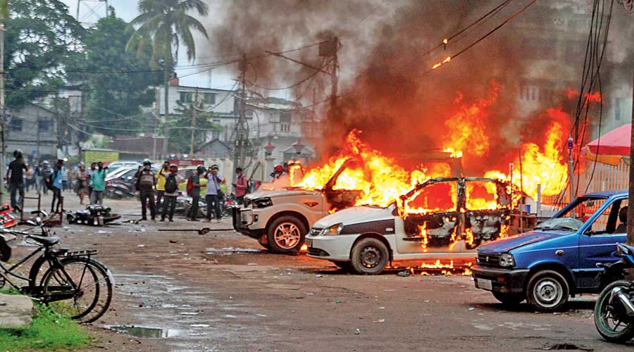 CPM offices vandalised and vehicles set on fire in Tripura