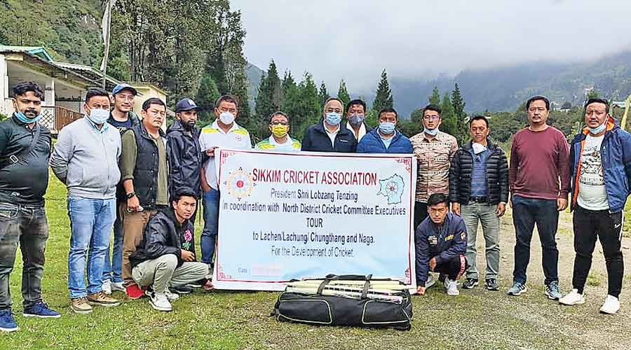 Members of the Sikkim Cricket Association at Lachung in North Sikkim during their outreach programme.