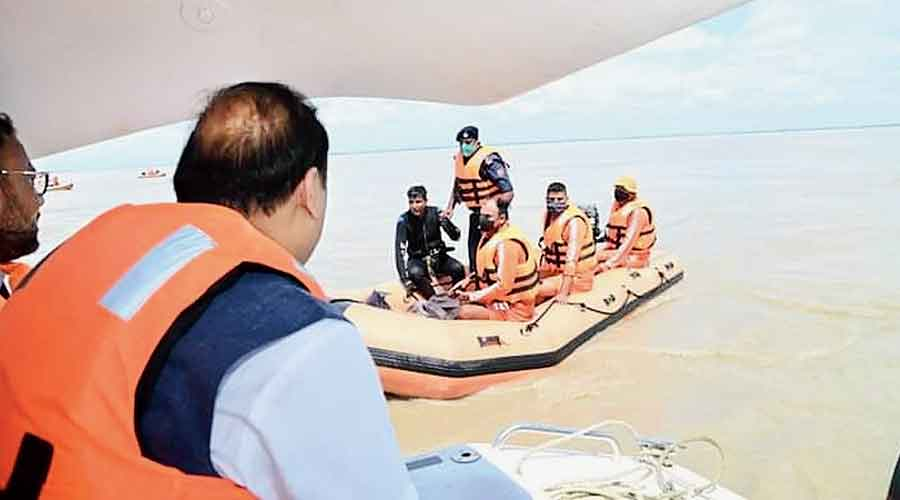 Assam chief minister Himanta Biswa Sarma on Thursday at the site where the boat mishap took place on Wednesday.