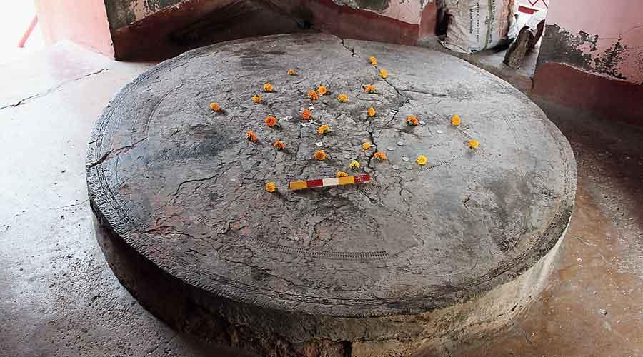 The Kushana-period vajrasana, as claimed by ASI expert Shanker Sharma, at the Vageshwari Devi temple in Bodhgaya.