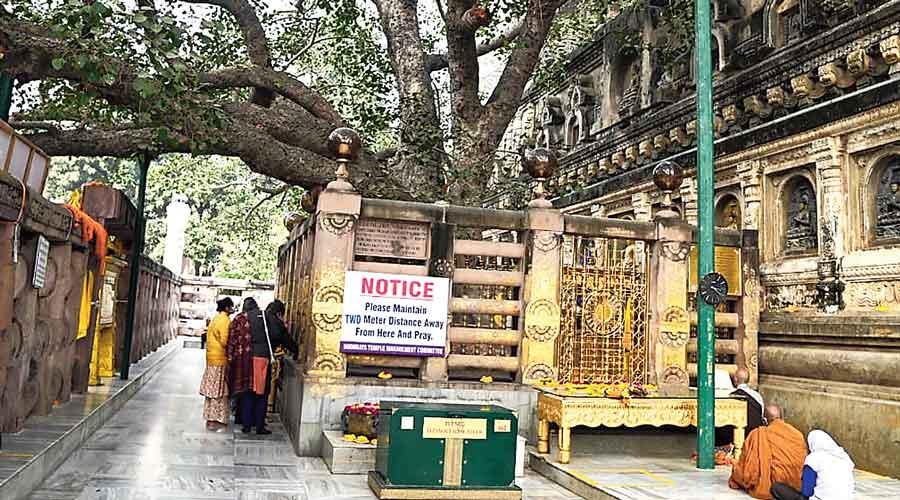 The first vajrasana, built by Emperor Ashoka, at the Mahabodhi Temple complex.