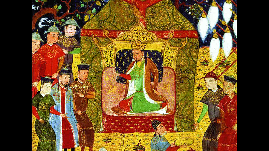 Chinggis Khan, surrounded by his sons, proclaims himself emperor, circa 14th century.