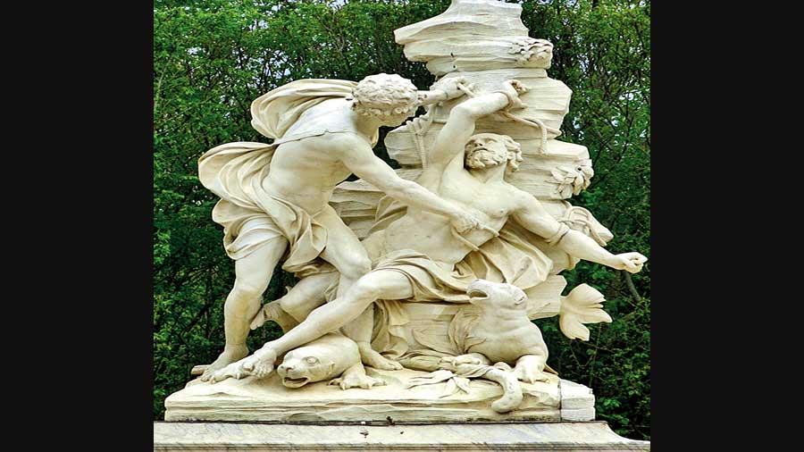 A marble sculpture by Sébastien Slodtz of Aristaeus fettering Proteus in a scene from Virgil's Georgics.
