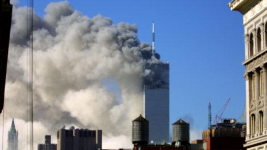 The World Trade Center burning after two airliners crashed into the buildings in New York City, Tuesday September 11