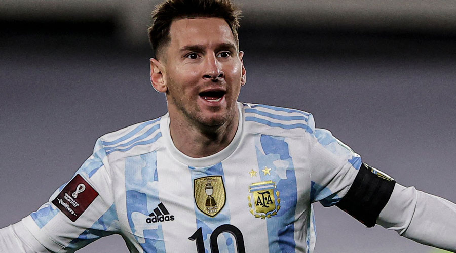 Lionel Messi after scoring his hat-trick against Bolivia on Thursday.