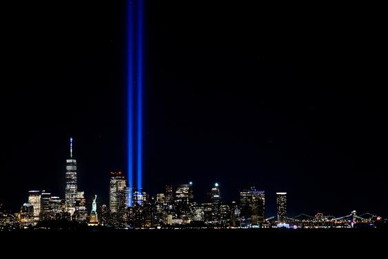 The Tribute in Light, an installation commemorating the September 11 attacks, in Lower Manhattan, on Friday, the eve of the 20th anniversary of the attacks.