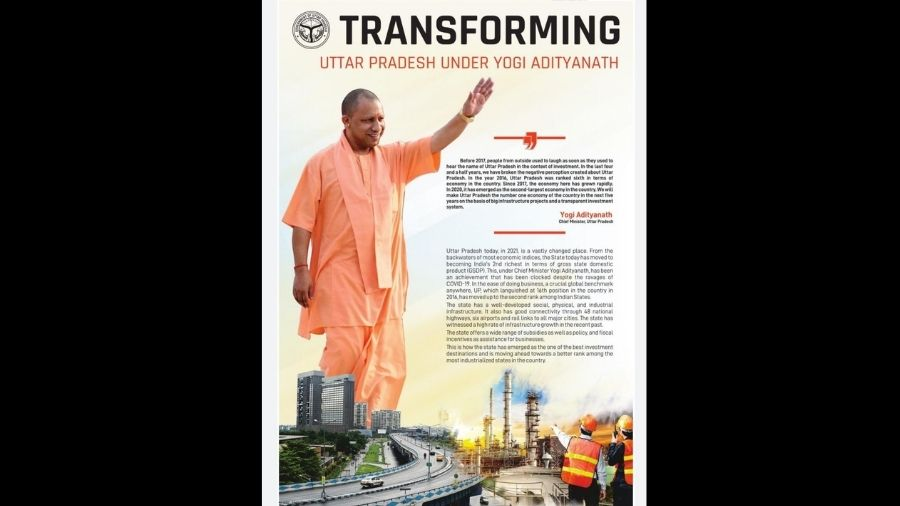 The front page shows Adityanath towering over the  Maa flyover