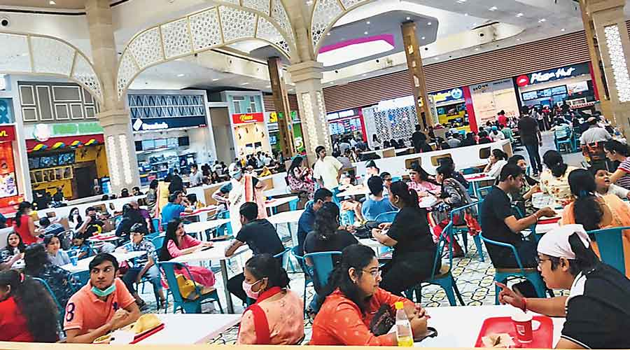 The food court at South City Mall on Sunday afternoon.