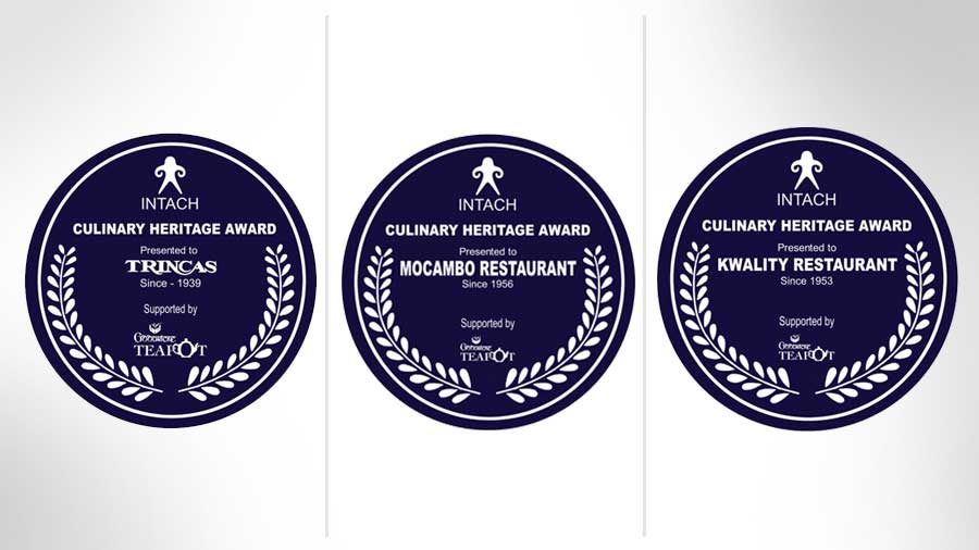 The plaque of the three restaurants that will be unveiled on September 19.