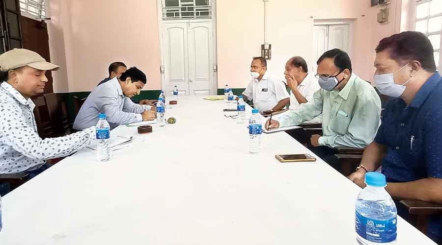 Railway officials meet tea planters in Jalpaiguri on Monday.