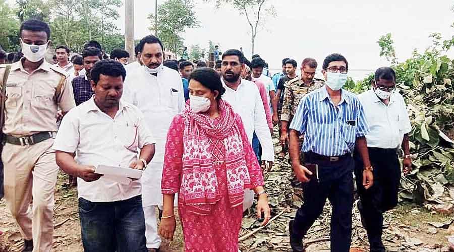 Yeasmin in Birnagar 1 panchayat of Malda on Monday.