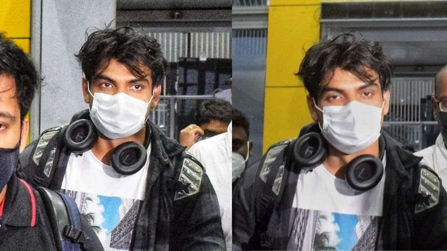 Neeraj Chopra at the Kolkata airport late on Tuesday