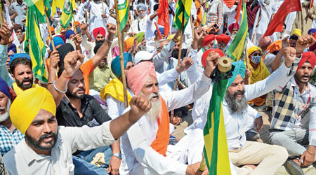 Descendants of Jallianwala Bagh martyrs, farmers and members of various social organisations take part in a protest march in Amritsar on Tuesday over the facelift the Centre has given to the heritage site. The renovation project was implemented by the Union ministry of culture. The widely criticised new features include a light-and-sound show, a glass encasing of the martyrs' well, and an embellishment of the stark brick alley through which Reginald Dyer's troops had entered the premises and shot hundreds of peaceful  pro-Independence protesters dead.