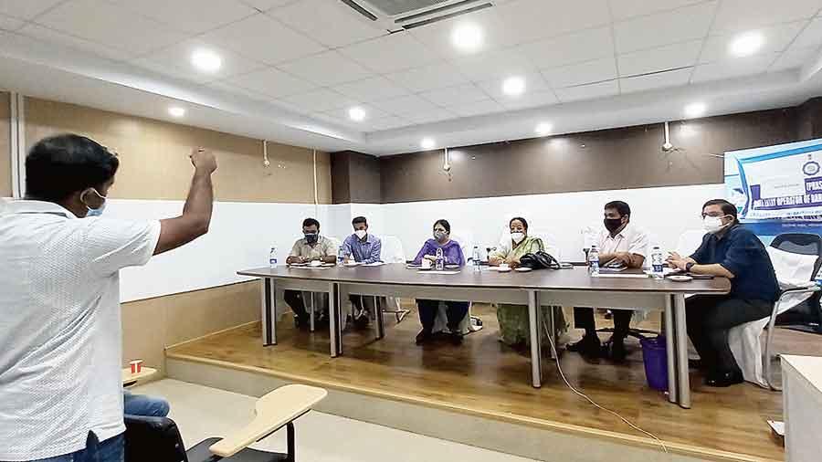 The meeting in progress in Jalpaiguri on Tuesday.