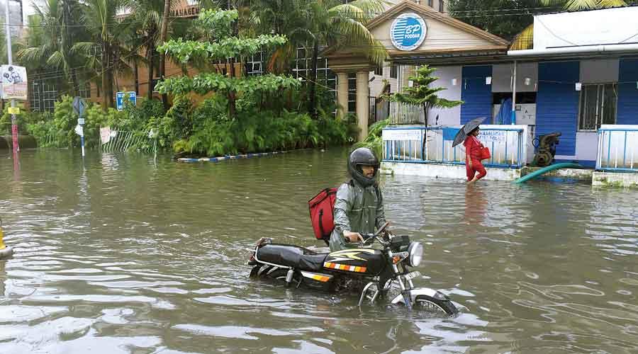 A flooded stretch of VIP Road near Haldiram.
