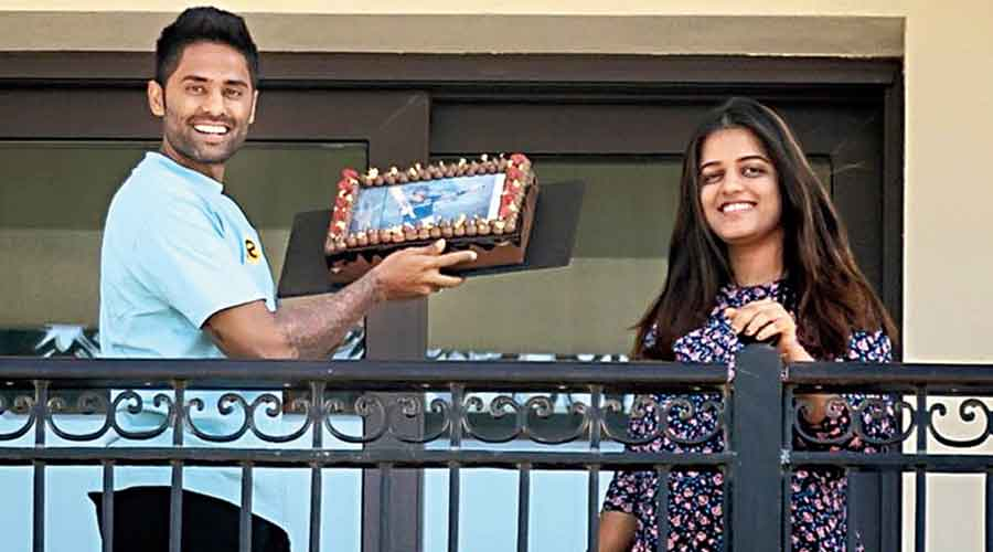 Birthday boy Suryakumar Yadav celebrates his day in quarantine with wife Devisha at the Mumbai Indians' base in Abu Dhabi ahead of the second leg of the India Premier League starting on Sunday.