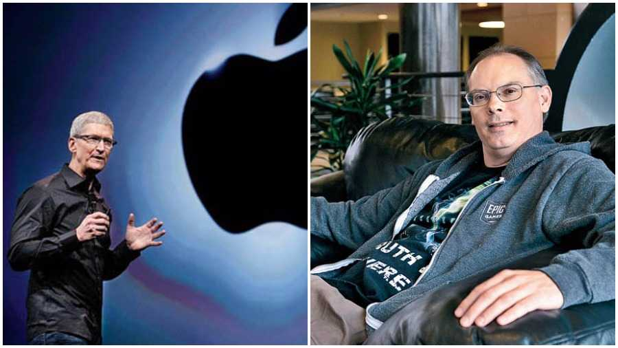 Apple's CEO Tim Cook (left) and Epic Games chief Tim Sweeney