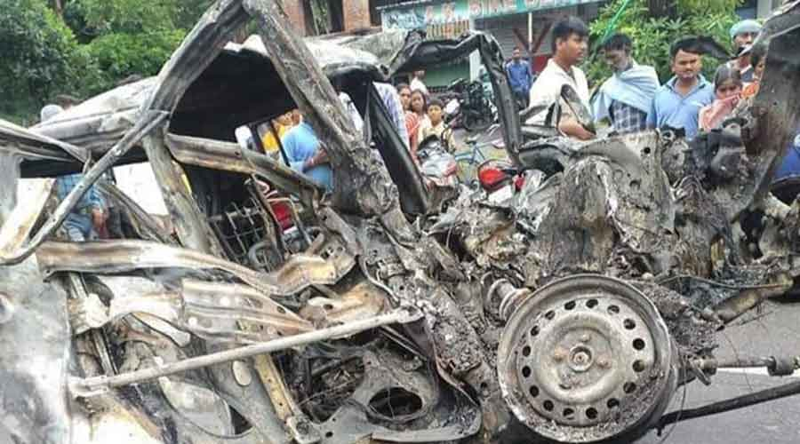The WagonR car after the incident on Ramgarh-Gola main road at Ramgarh.