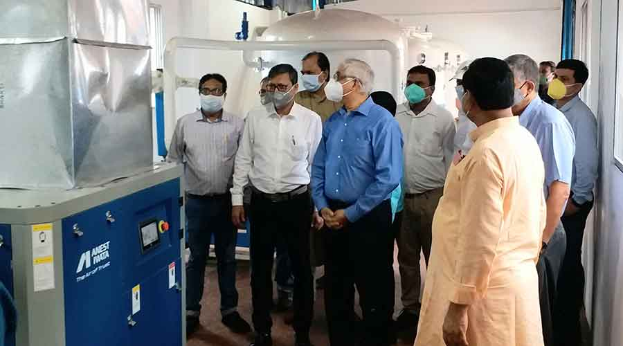 Tata officials inspect PSA Oxygen plant at Jamadoba in Jharia, Dhanbad on Wednesday.