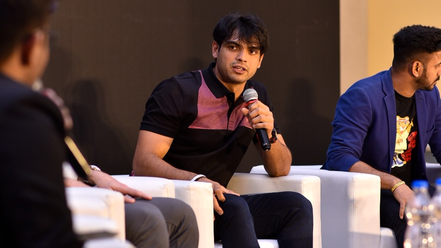 Neeraj Chopra at a felicitation programme in the city on Wednesday
