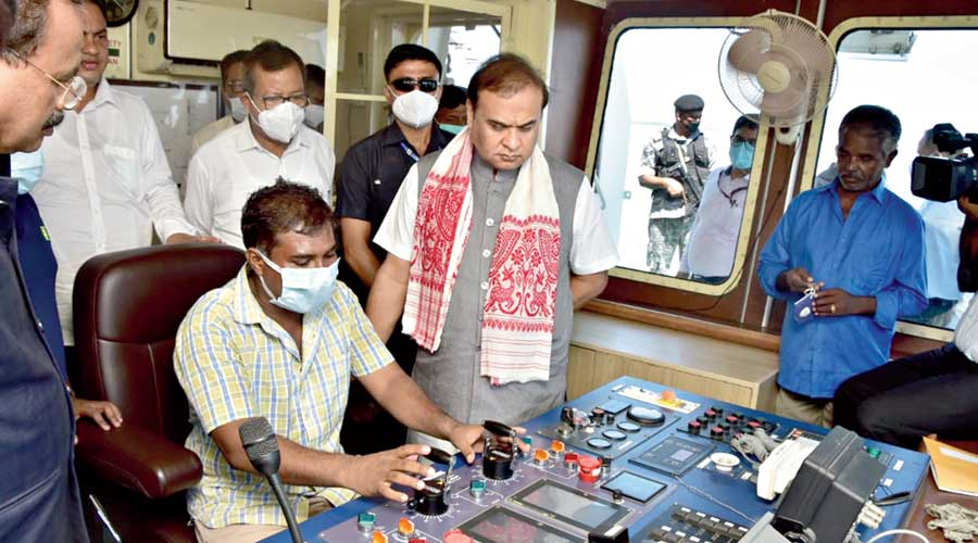 Assam chief minister Himanta Biswa Sarma reviews the safety measures and other facilities put in place for the passengers at Nimatighat and Majuli in Jorhat on Wednesday.