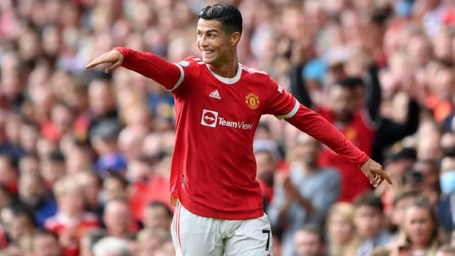 Cristiano Ronaldo celebrates after scoring the second goal for Manchester United at Old Trafford on Saturday.