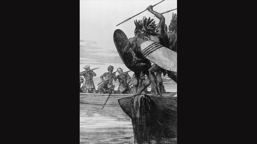 British colonialists fighting native Africans on the Congo river, circa 1875.