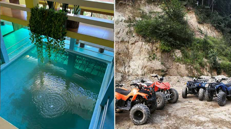 Pudung Farms offers a taste of adventure tourism; the property also has a hotel with an indoor pool full of exotic fish!