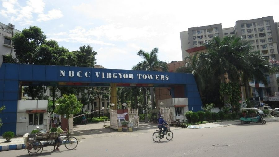 The main gate of NBCC Vibgyor Towers. The picketing was happening at a side of the gate.