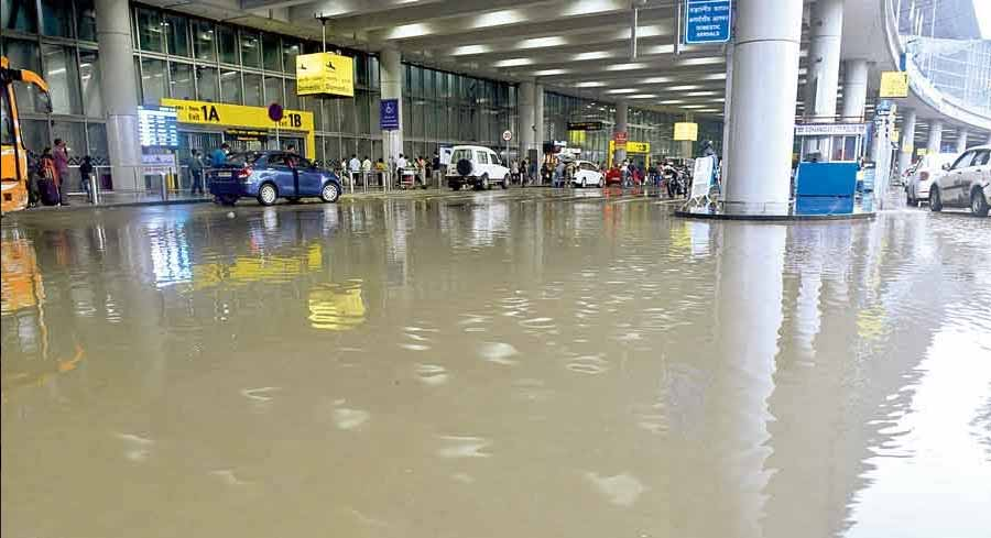 FLOATING AIRPORT: Netaji Subhas Chandra Bose International Airport, waterlogged after rain on Tuesday, September 14. Some airport officials pointed the finger of blame at the ongoing Metro construction work nearby